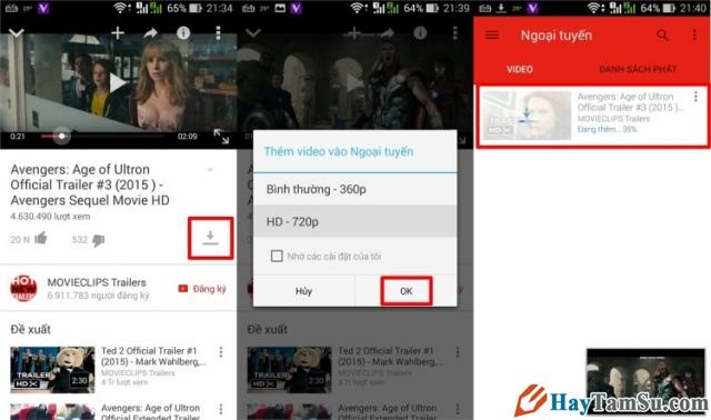 Hình 3 - Hướng dẫn xem Youtube Offline trên Android khi không có mạng