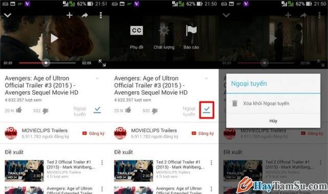 Hình 6 - Hướng dẫn xem Youtube Offline trên Android khi không có mạng