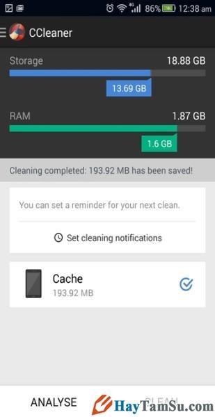 Hình 2 - Tăng tốc độ thiết bị Android với top 3 phần mềm dọn dẹp rác