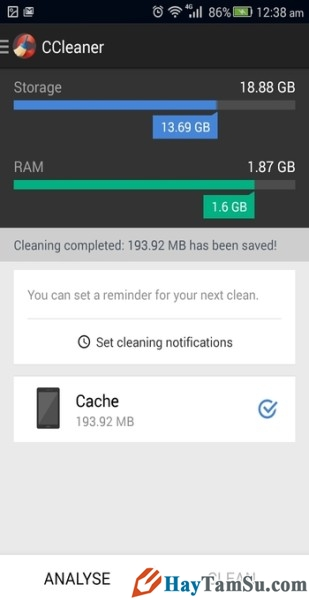 Hình 3 - Tăng tốc độ thiết bị Android với top 3 phần mềm dọn dẹp rác