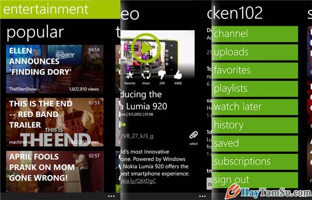 Hình 2 - Những ứng dụng xem Youtube tốt nhất cho Windows Phone