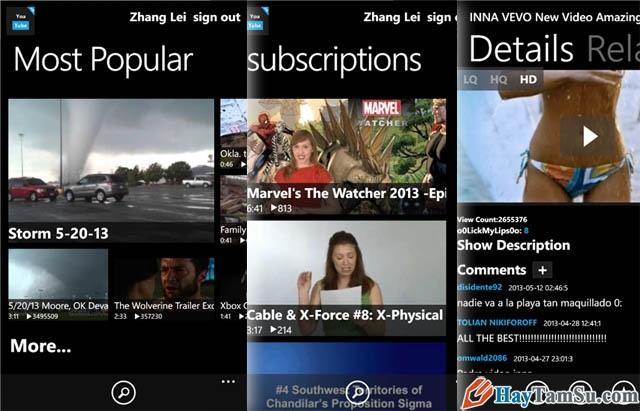 Hình 5 - Những ứng dụng xem Youtube tốt nhất cho Windows Phone