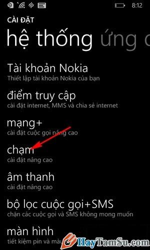 Hình 3 - Kích hoạt tính năng chạm 2 lần mở khóa của Windows Phone