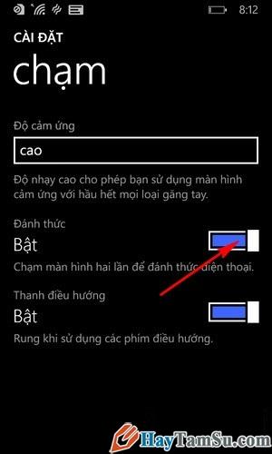 Hình 4 - Kích hoạt tính năng chạm 2 lần mở khóa của Windows Phone