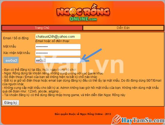 Hình 3 - Hướng dẫn cách đăng kí tài khoản chơi Ngọc rồng