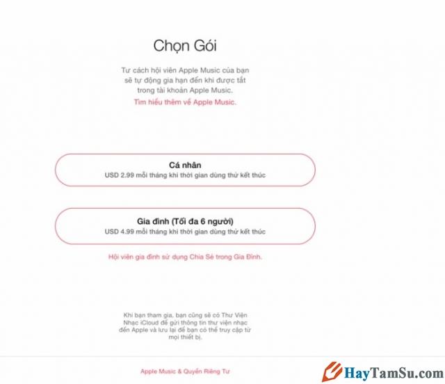 Hình 2 - Hướng dẫn đăng ký và sử dụng phần mềm Apple Music