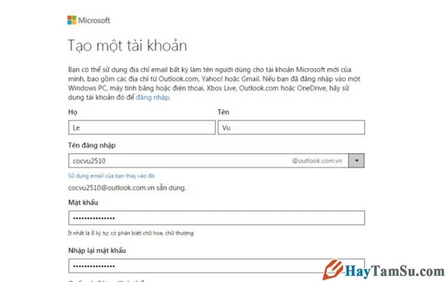 Hình 2 - Cách tạo tài khoản Microsoft cho Windows Phone