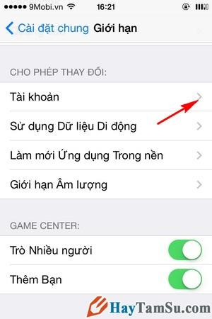 Hình 7 - Hướng dẫn thay đổi tài khoản iCloud trên iPhone, iPad