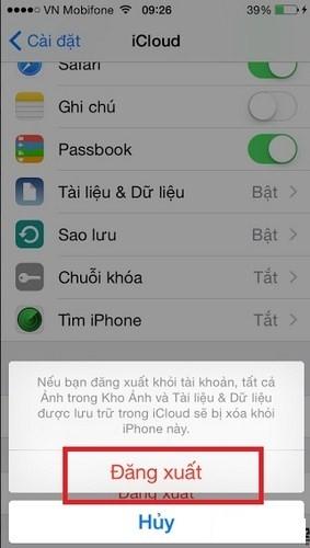 Hình 10 - Hướng dẫn thay đổi tài khoản iCloud trên iPhone, iPad