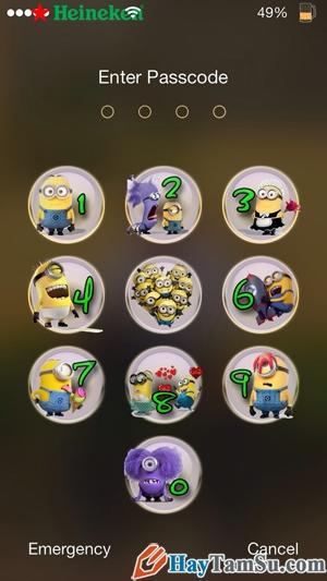 Hình 9 - Thay bàn phím số PassCode bằng hình ảnh trên iPhone, iPad