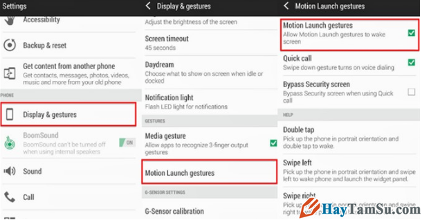 kích hoạt tính năng motion Launch trên HTC