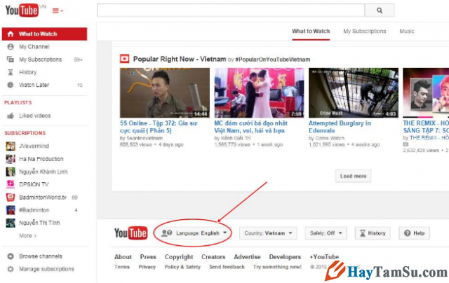 Cách thay đổi ngôn ngữ Youtube sang tiếng Việt cho laptop + Hình 2