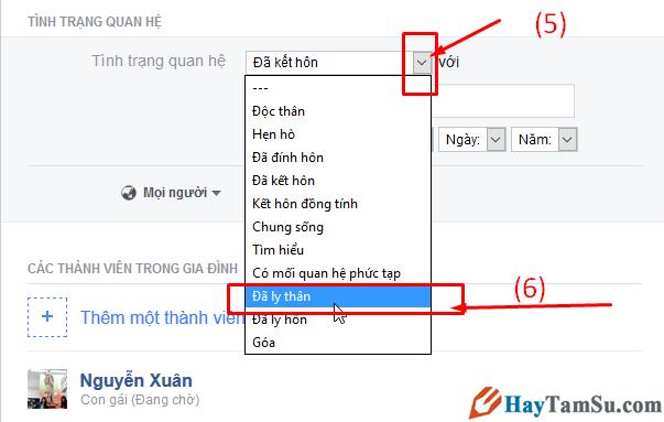 Hướng dẫn chuyển trạng thái đã Ly Thân trên mạng xã hội Facebook + Hình 6