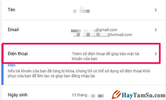 Hướng dẫn Thay đổi và Xóa số điện thoại khôi phục cho tài khoản Gmail + Hình 4