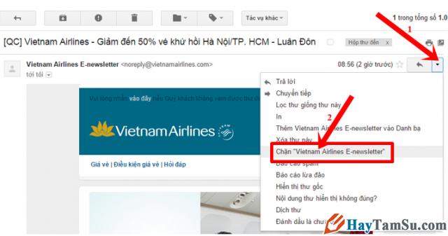 Cách Chặn/Hủy chặn email nếu bạn không muốn nhận thư trên Gmail + Hình 2