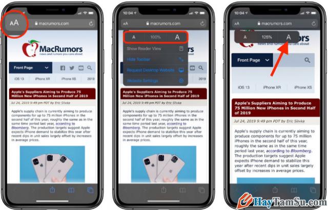 Tăng - Giảm size văn bản cho web Safari trên iOS 13 + Hình 3
